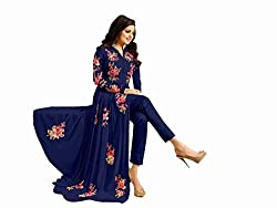 Blue Georgette Embroidered Semi Stitched Salwar Suit