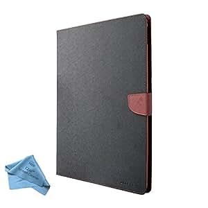CZap Mercury Diary Goospery Card Wallet Flip Cover Back Case for Apple iPad Mini - Brown Black