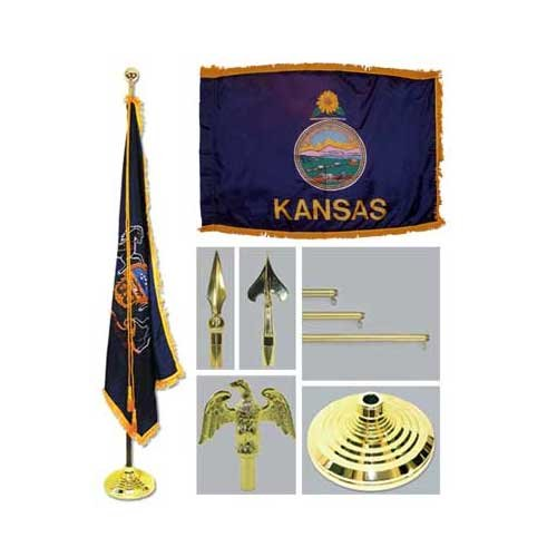 Kansas 4Ft X 6Ft Flag Telescoping Flagpole Base And Tassel