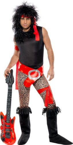 Smiffy's 80s Super Rock Star Costume with Leopard Print Pants