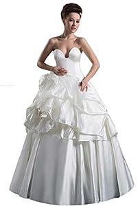 Natural Waist Taffeta Long Zipper Pick Ups Ball Gown Tier Wedding Dress(4,Red)