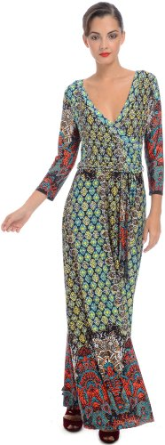 Moroccan Jersey Wrap Maxi Dress, S, Multi