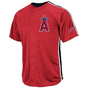 MLB Los Angeles Angels Mens Cross-Town Rivalry Jersey, Red Navy White by Majestic