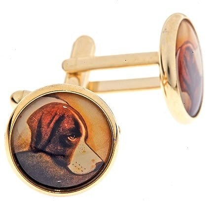 Gold plated cufflinks with an image of a dogs head with presentation box. Made in the U.S.A