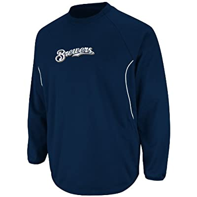 MLB Milwaukee Brewers Long Sleeve Crew Neck Thermabase Tech Fleece Pullover
