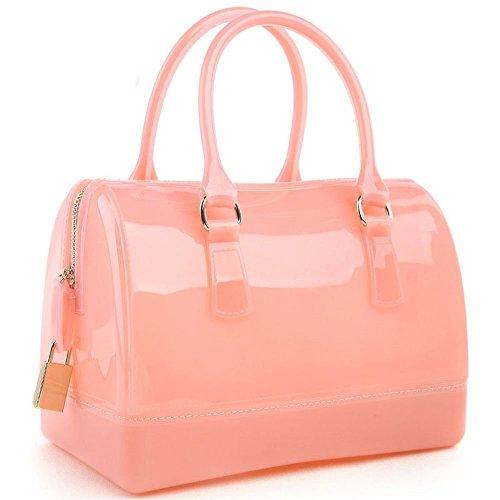 Desklets Women's Vintage Luxury Tote Bags Top Handle Handbag(LightPink)