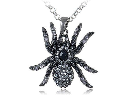 Hematite Czech Crystal Spider Pendant