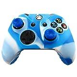 Pandaren� Pelle cover skin per il Xbox One controller(blu bianco) x 1 + pollice presa x 2