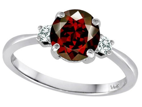 Tommaso Design 7Mm Round Genuine Garnet And Diamond Classic 3 Stone Engagement Ring 14K Size 8