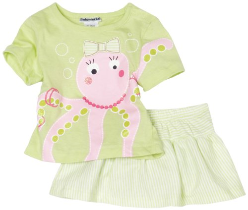 Babyworks Baby-girls Infant Octopus Short Set, Green, 18 Months