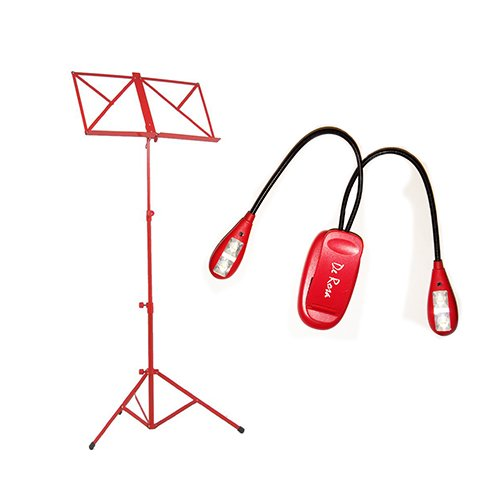 Red Music Stand Deluxe With Red Led Music Stand Light