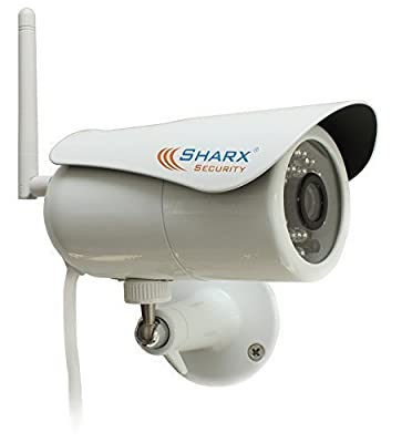 Sharx Security SCNC3904-WIDE High Definition 1080P Mini Wifi / PoE Weatherproof Outdoor IP Network Camera with Infrared Night Vision and built in DVR