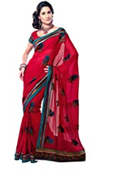 Anvi Creations Georgette Embroidered Red Ethnic Page3 Saree Sari (Red_Free Size)
