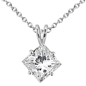 2.00ct. Princess-Cut Diamond Solitaire Pendant in Platinum (H, VS2)