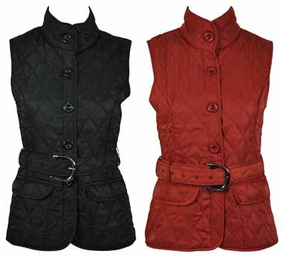 New Ladies Padded Button Waistcoat Jacket Womens Quilted Belt Gillet