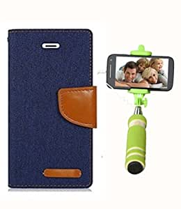 Aart Fancy Wallet Dairy Jeans Flip Case Cover for MotorolaMotoE (NavyBlue) + Mini Fashionable Selfie Stick Compatible for all Mobiles Phones By Aart Store