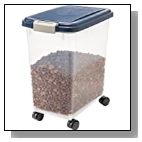 IRIS Airtight Pet Food Storage Container, 33 Quart, Navy