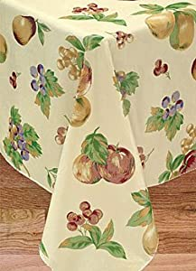 Apple Delicious Flannel Backed Vinyl Tablecloth, 60X84 Oval