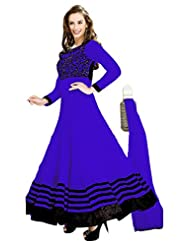 Clickedia Beautiful Blue Anarkali With Contrast Black Embroidery- Dress Material