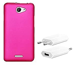 Chevron Rubberized Matte Finish Back Cover Case for hTC Desire 516 with USB Mobile Wall Charger (Rose Pink)