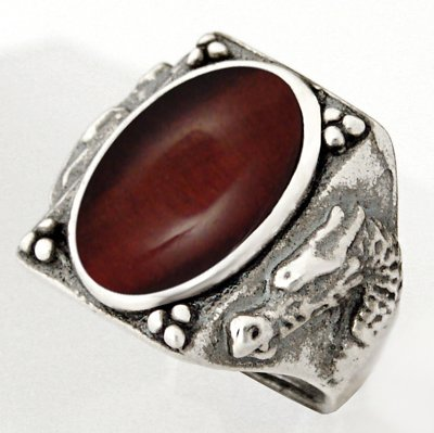 Heavy Weight Sterling Dragon Ring with Red Tiger Eye Made in America Available in Size 8 to 12