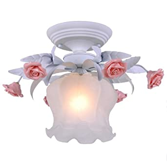 European Romantic White Flowers Princess Room Ceiling Lamp ...