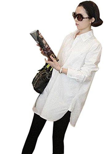 corlorful エレガント レディース長袖ブラウス 膝丈チュニック シャツ ロングデザイン 女性トップス 無地純色 OL 普段着 ホワイト綿麻シャツミニワンピシャツ