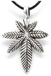 Pewter Medical Marijuana Pot Leaf Pendant on Leather Necklace