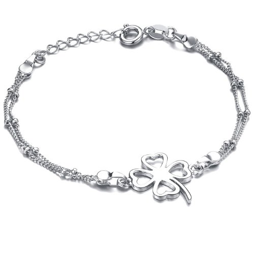 White Gold Plated Womens Anklet Bracelet for