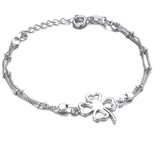 White Gold Plated Womens Anklet Bracelet for