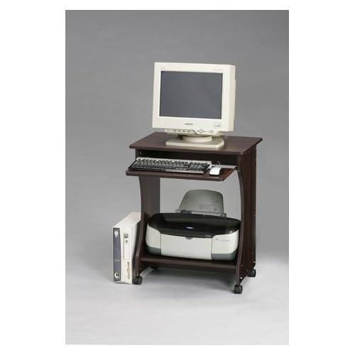 オールウッド コンパクト机 ダークブラウン木目 60cm幅 パソコンデスク スライダー/キャスター付き