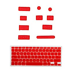 HDE® Silicone Anti Dust Port Plugs + Matching Keyboard Skin for Macbook Pro Retina Display 13