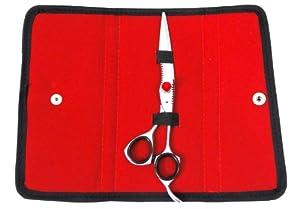 "ZZZRT ZD-5567 6"" New Polish High Quality J2 Japanese Steel Professional Razor Edge Titanium Hairdressing Scissor Shear With Red Diamonds Screw + FREE Scissor Pouch & Free Scissor Pouch"