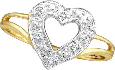0.05CTW ROUND DIAMOND LADIES CLUSTER HEART RING