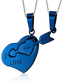 buy Valentine'S Gift His & Hers Promise Key To My Heart Matching Couple Love Pendant Necklace(Blue)