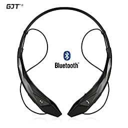 GJT®Wireless Stereo Bluetooth 4.0 Headsets Headphones Flex Neck Strap EarBuds Lightweight Noise Cancelling Earphones for iPhone,Samsung,Android Cellphones Enabled Bluetooth Device(BLACK)