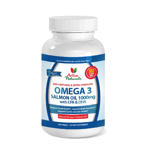 Premium Omega 3 Salmon Fish Oil Supplement For 180 Days Supply - Extra Strength Omega 3 Salmon Oil Plus 1000 Mg - Activa Naturals Lemon Coated & Gmo Free Salmon Oil Supplement