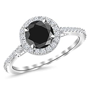 1.4 Carat 14K White Gold Classic Round Halo Diamond Engagement Ring w/ 1 Carat black diamond