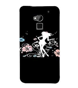 PrintVisa Girly Flower Design 3D Hard Polycarbonate Designer Back Case Cover for HTC One Max
