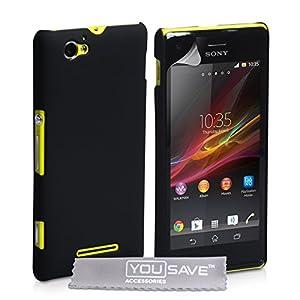 Sony Xperia M Case Black Hard Hybrid Cover