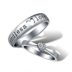 Yellow Chimes 'Endless Love' Heart Crystal 925 Sterling Silver Plated Proposal Rings Promising Couple Rings for Girls and Boys