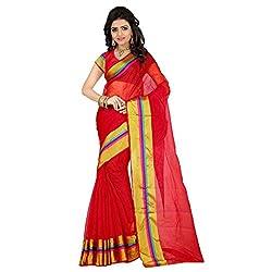 Dealseven Fashion New Red Colure Tissue Silk Saree