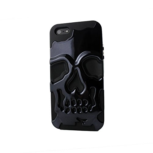 Sanoxy 3D Skull Style Dual Layer PC with Silicone Back Case for iPhone 5/5S - Non-Retail Packaging - Black Skull