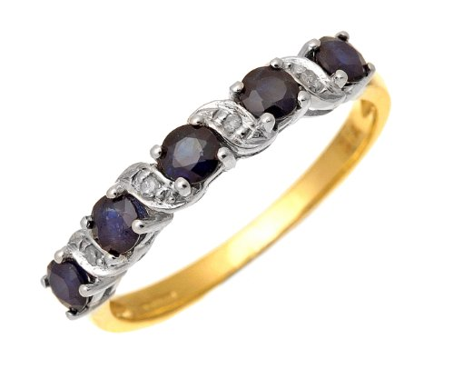 9ct Yellow Gold Sapphire And Diamond Eternity Ring - Size J