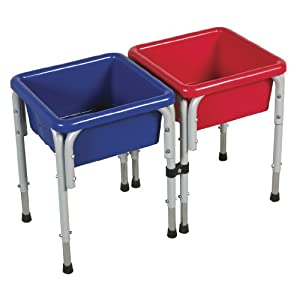 ECR4Kids Square Sand and Water Tables with Lids, 2 Stations