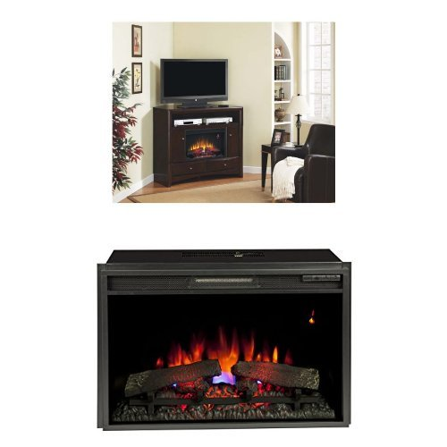 """Complete Set Delray Dual Entertainment Mantel In Roasted Walnut With 26"""" Spectrafire Plus Insert With Safer Plug"""