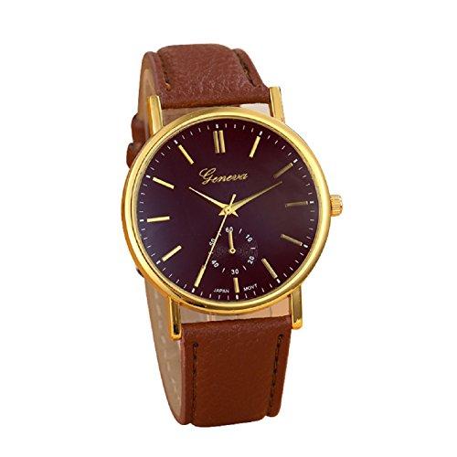 Sannysis Unisex Leather Band Wristwatch Brown
