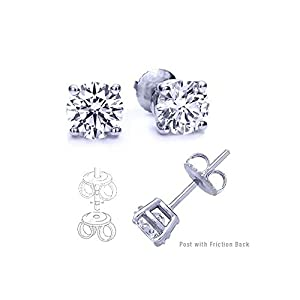 9.00 Carat Total Cubic Zirconia 925 Silver Stud Earrings. Round Stones 4.50 Carat Each