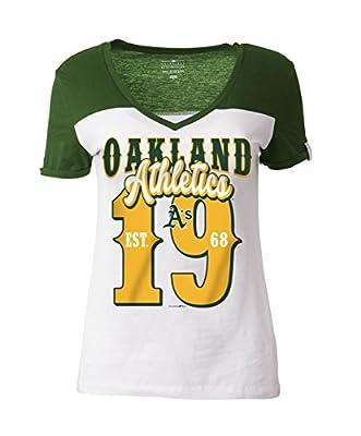 MLB Oakland Athletics Women's Cotton Short Sleeve V-Neck Tee with High Low Hem, White, X-Large