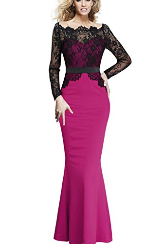 Viwenni® Women Lace Maxi Cocktail Party Evening Fromal Gown Dress (XX-Large, Rosa Pink)